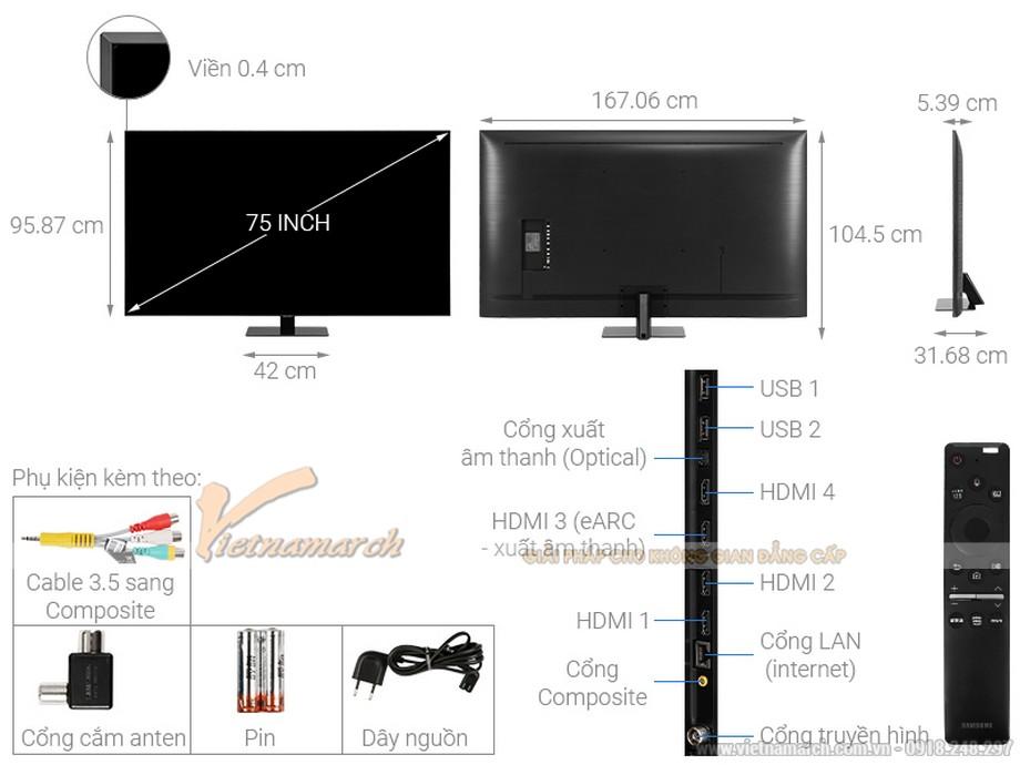 Kích thước tivi Samsung 75 inch