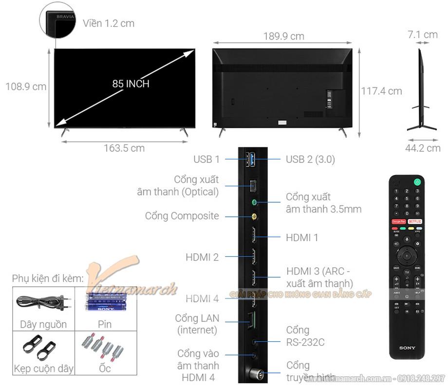 Kích thước tivi Sony 85 inch
