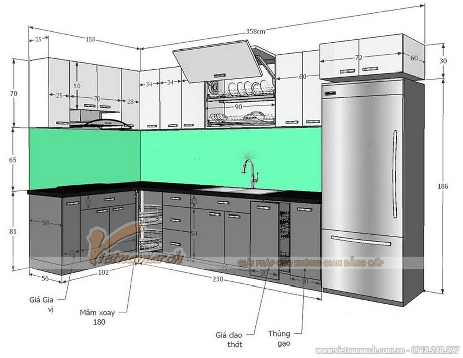Kích thước các khoang tủ bếp