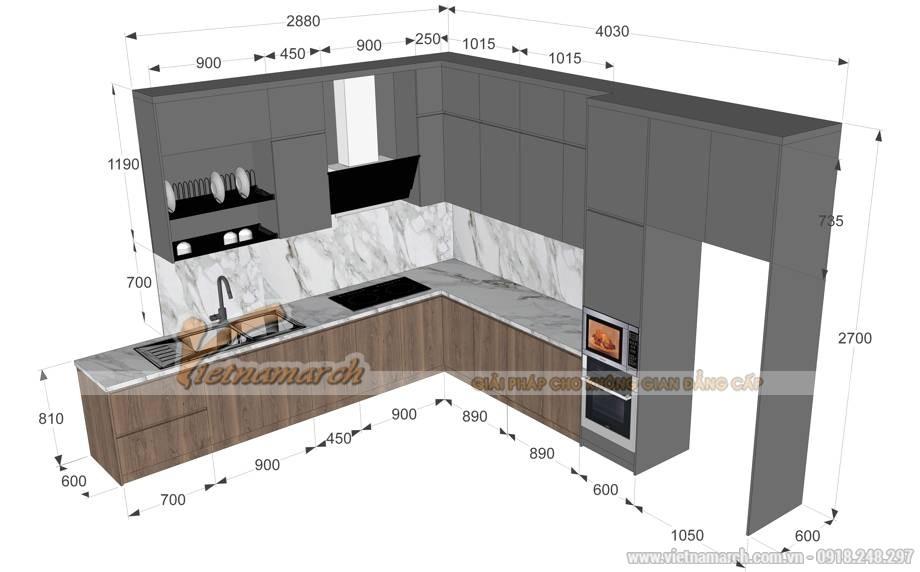 Kích thước tủ bếp đẹp tiêu chuẩn