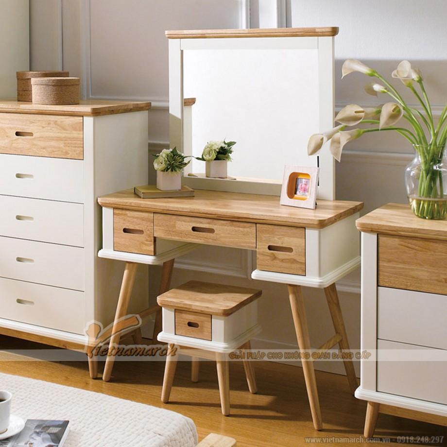 Lựa chọn bàn trang điểm chất liệu gỗ, màu sắc hài hòa với nội thất