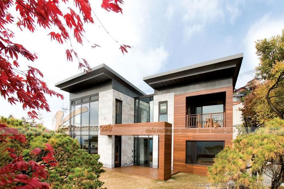 Mẫu nhà cấp 4 đẹp với gỗ và gạch hiện đại