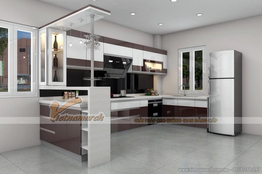 Mẫu tủ bếp ACRYLIC chữ U