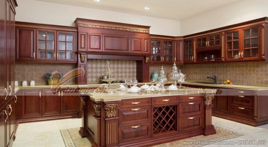 Mẫu tủ bếp gỗ gõ
