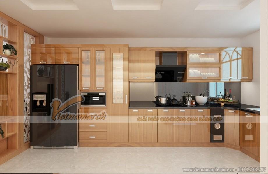 Mẫu tủ bếp gỗ Veneer