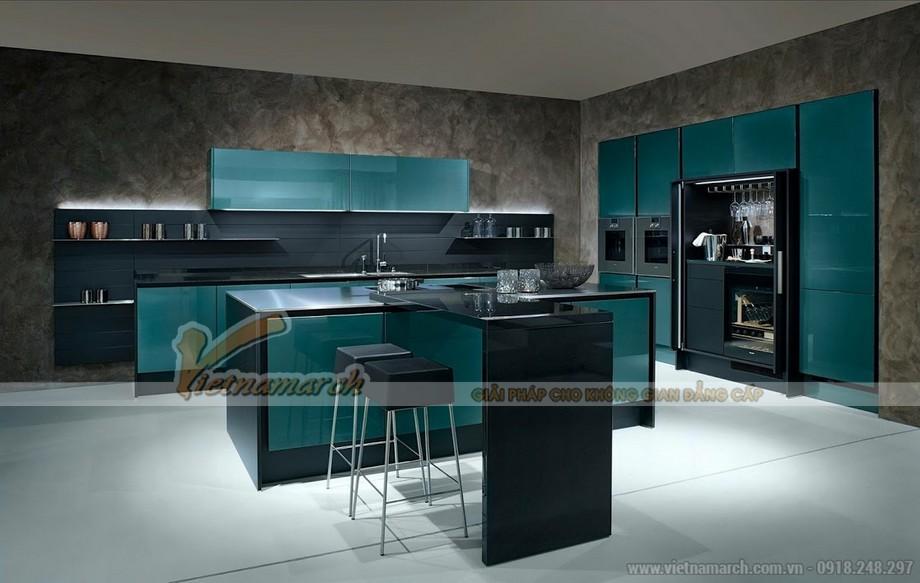 Tủ bếp màu xanhlam