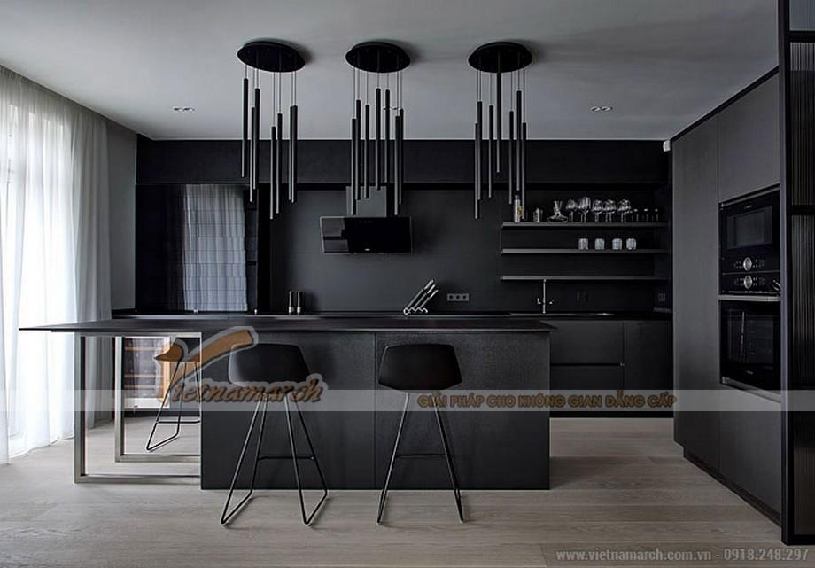 Tủ bếp màu đen với cách decor siêu sang