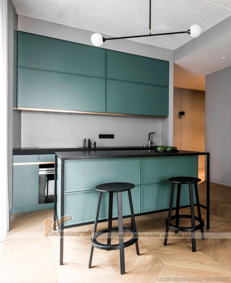 Tủ bếp màu xanh