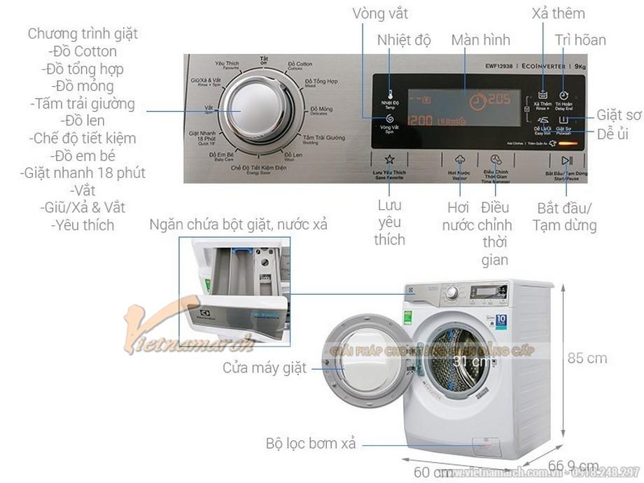 Kích thước máy giặt Elextrolux 9kg