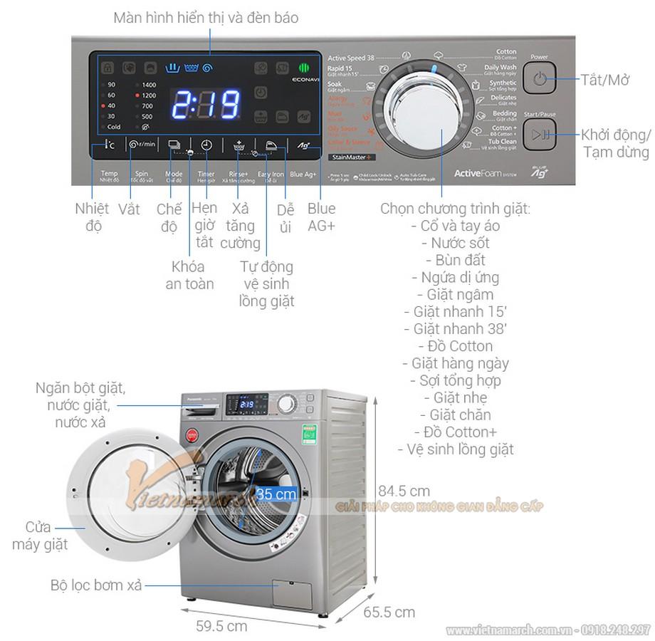 Kích thước máy giặt Panasonic cửa ngang