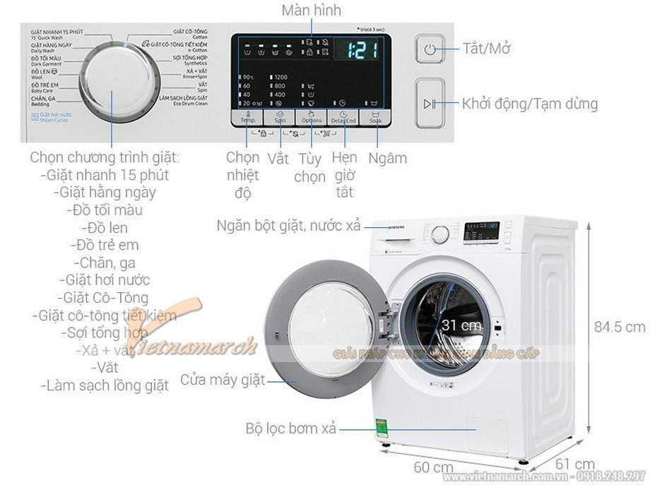 Kích thước máy giặt Samsung cửa ngang