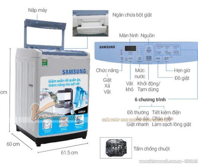Kích thước máy giặt Samsung cửa trên