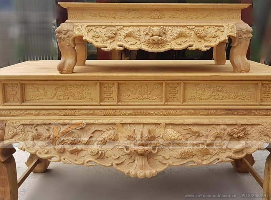 Mẫu sập thợ tứ linh thiết kế đơn giản làm từ gỗ gụ