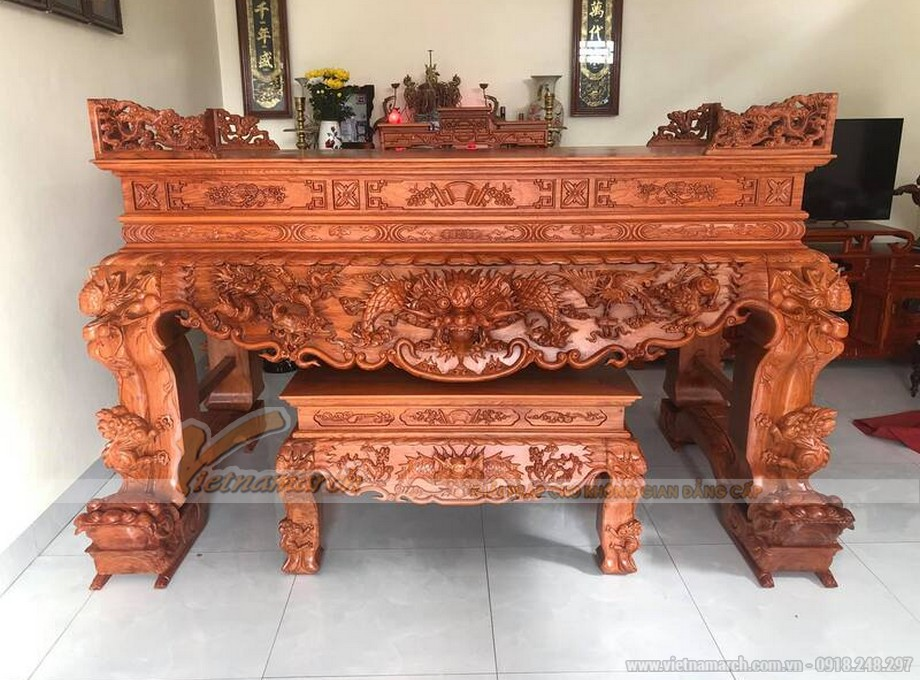 Mẫu bàn thờ tứ linh chạm khắc bốn chân sập