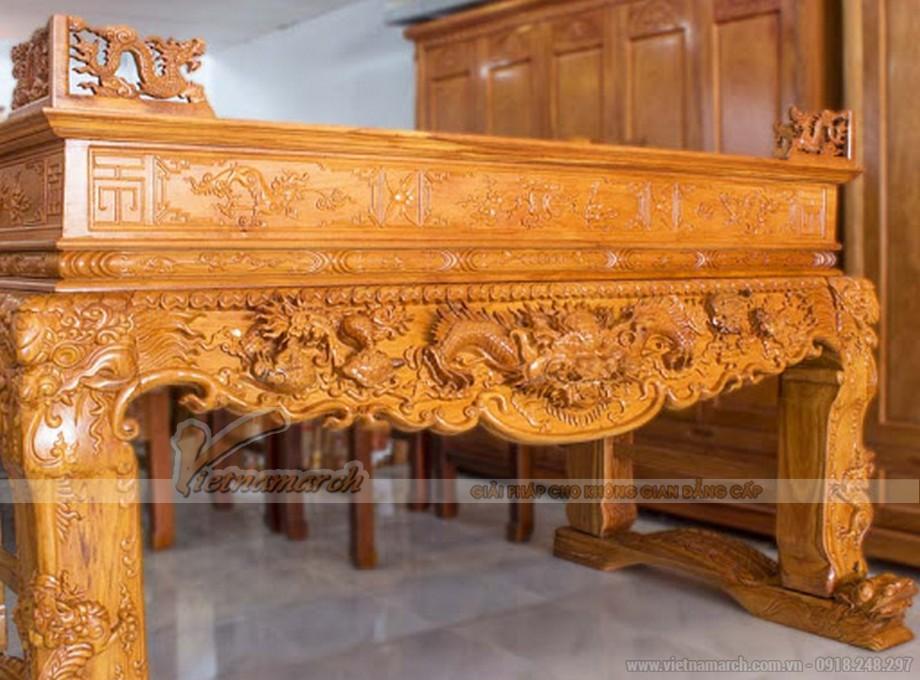 Sập thờ tứ linh được làm từ nhiều loại gỗ khác nhau như gỗ gụ, gỗ mít...