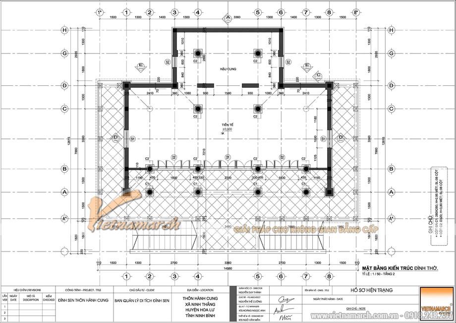 bản vẽ thiết kế đình làng Sen thôn Hành Cung tại Ninh Bình rộng hơn 1000m2