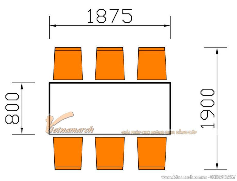 Kích thước bàn ăn 6 chỗ ngồi