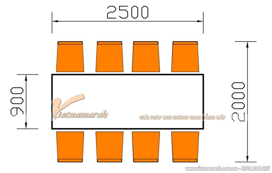 Kích thước bàn ăn 8 chỗ ngồi hình chữ nhật
