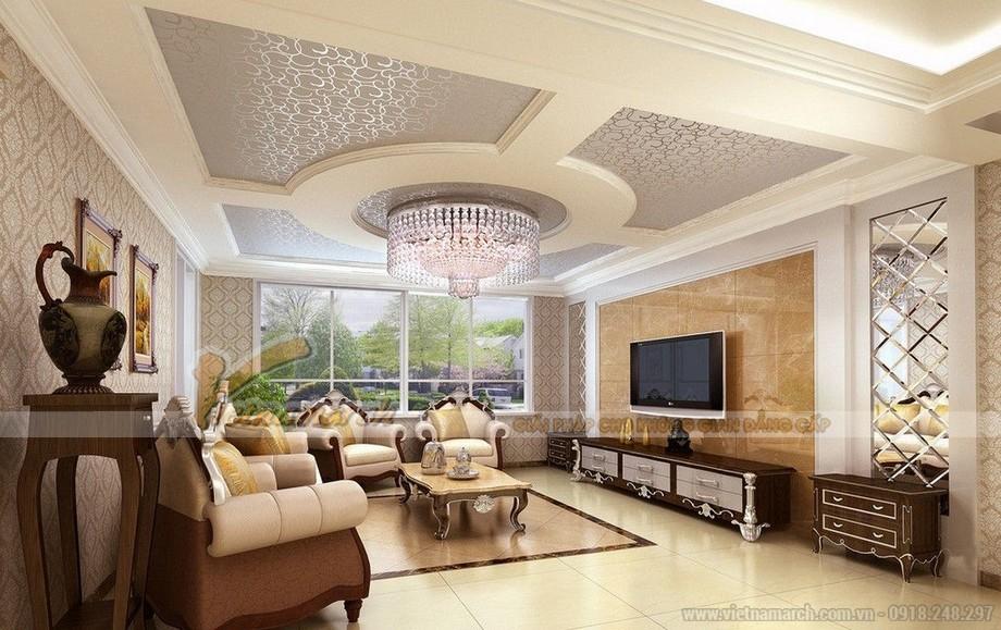 mẫu trần thạch cao ô vuông cho phòng khách