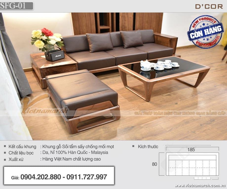Bàn ghế sofa gỗ sồi giá rẻ cho phòng khách SFG-01