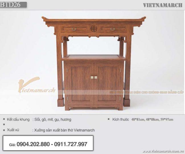 BTD26 - Mẫu bàn thờ đứng 1m07 kèm bàn cơm
