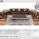 Sofa gỗ sồi bọc nệm da sang trọng – Mã SFG-03