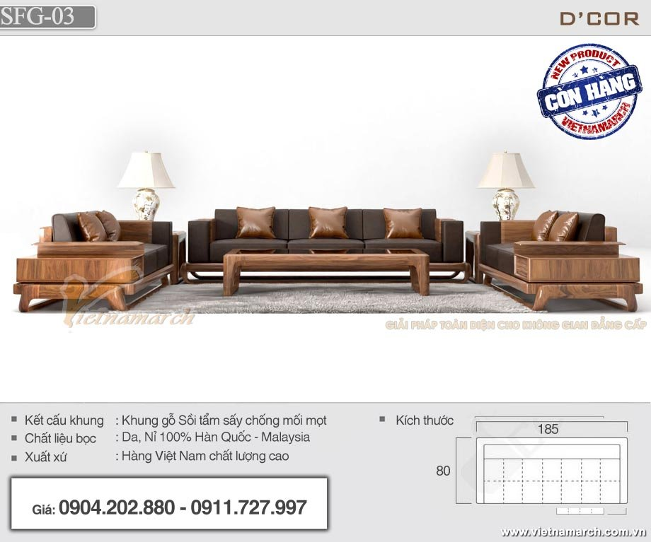 Sofa gỗ sồi bọc nệm da SFG03