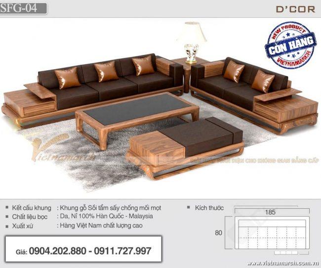 Sofa gỗ sồi chữ L hiện đại SFG-04