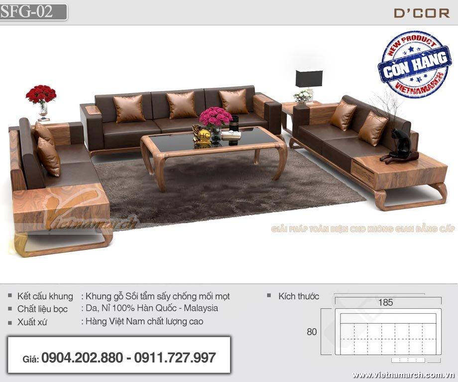 Bộ sofa gỗ sồi chữ U cao cấp cho phòng khách