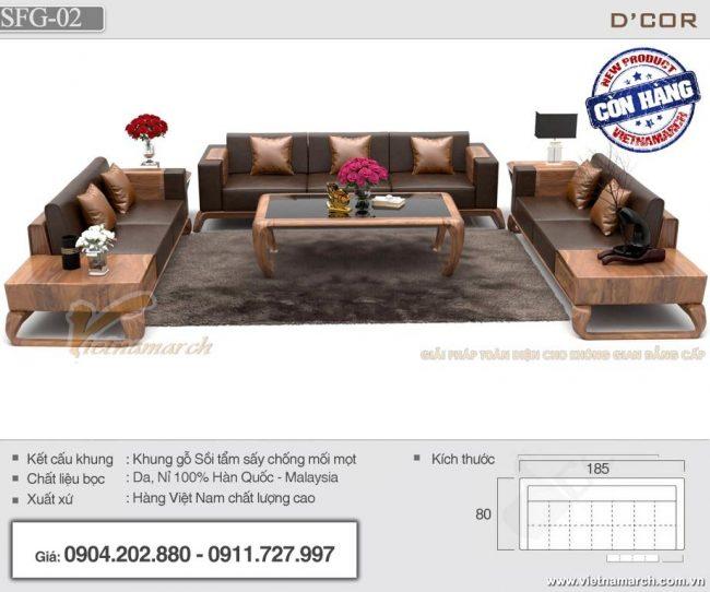 Bộ sofa gỗ sồi chữ U cao cấp SFG-02