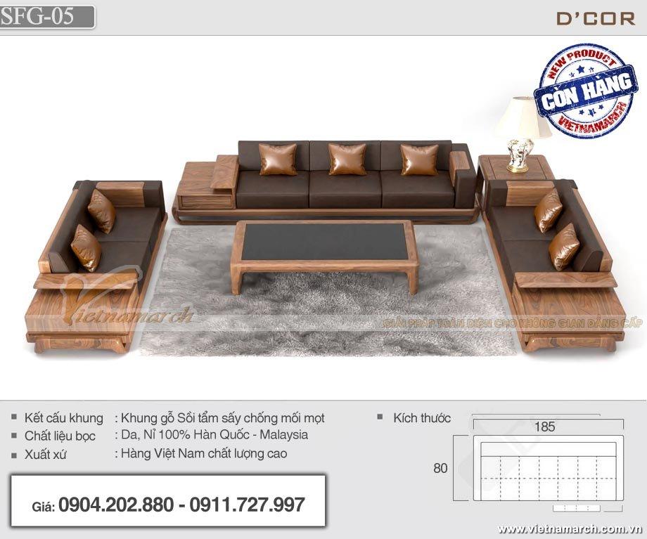 Sofa gỗ sồi tay trứng SFG-05