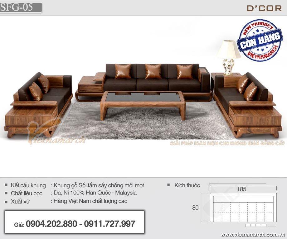 Sofa gỗ sồi tay trứng SFG-05 cho phòng khách cao cấp