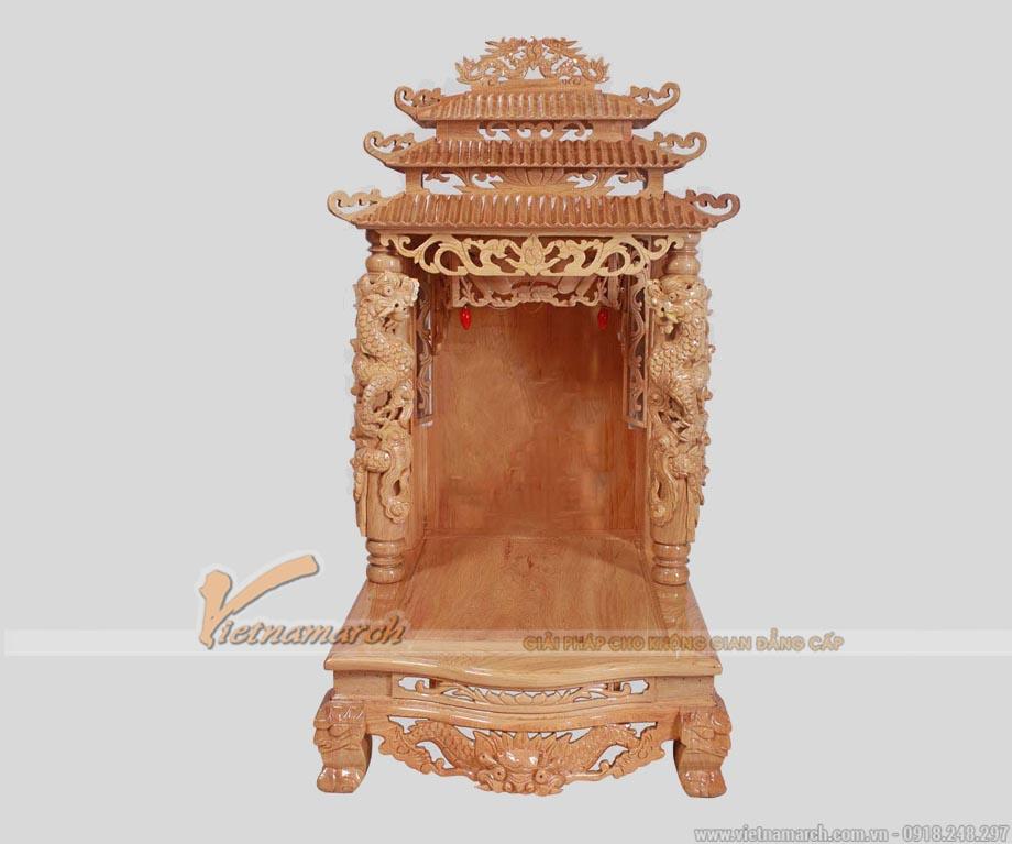 Bàn thờ thần tài cột rồng 3 mái màu trần sồi