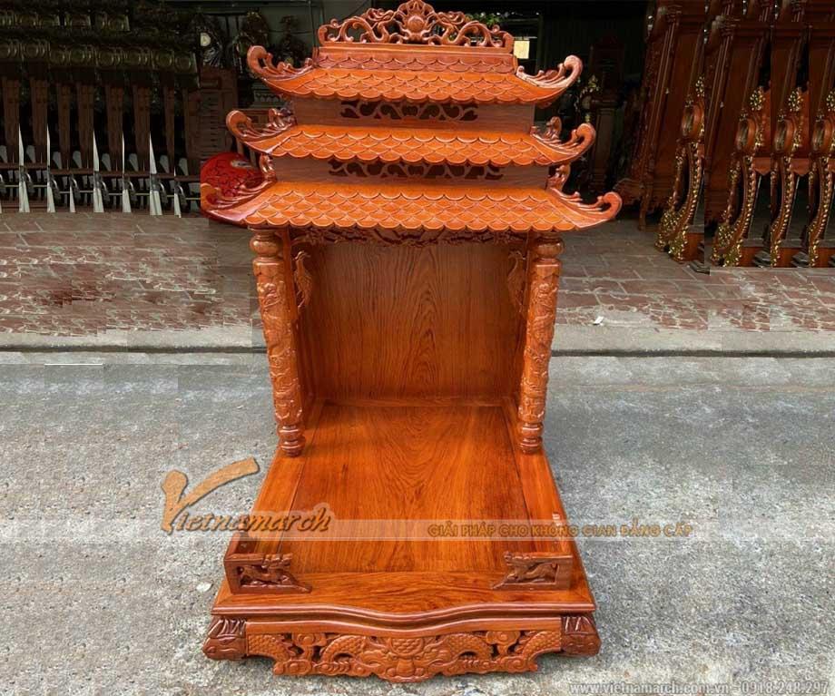 Bàn thờ thần tài mái chùa cột rồng 3 mái màu cánh gián
