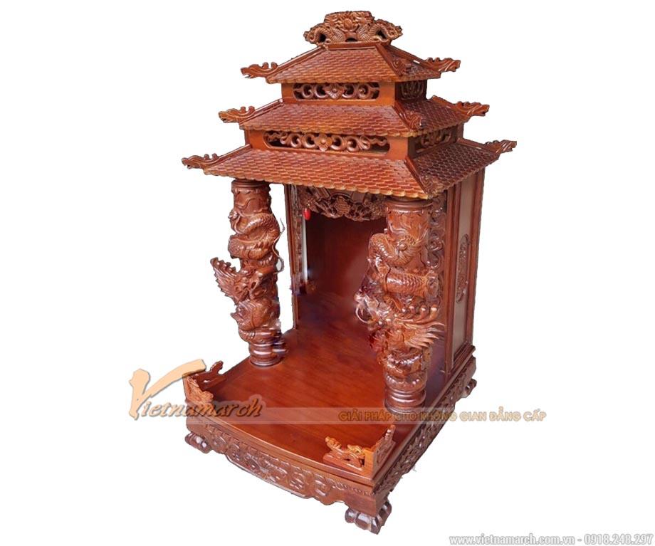 Bàn thờ thần tài màu cánh gián cột rồng cuốn nổi gỗ gụ