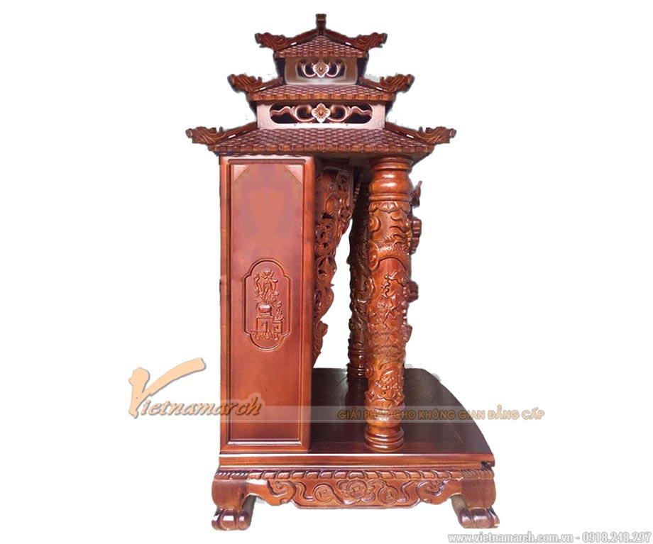 Bàn thờ thần tài gỗ gụ cột tứ linh