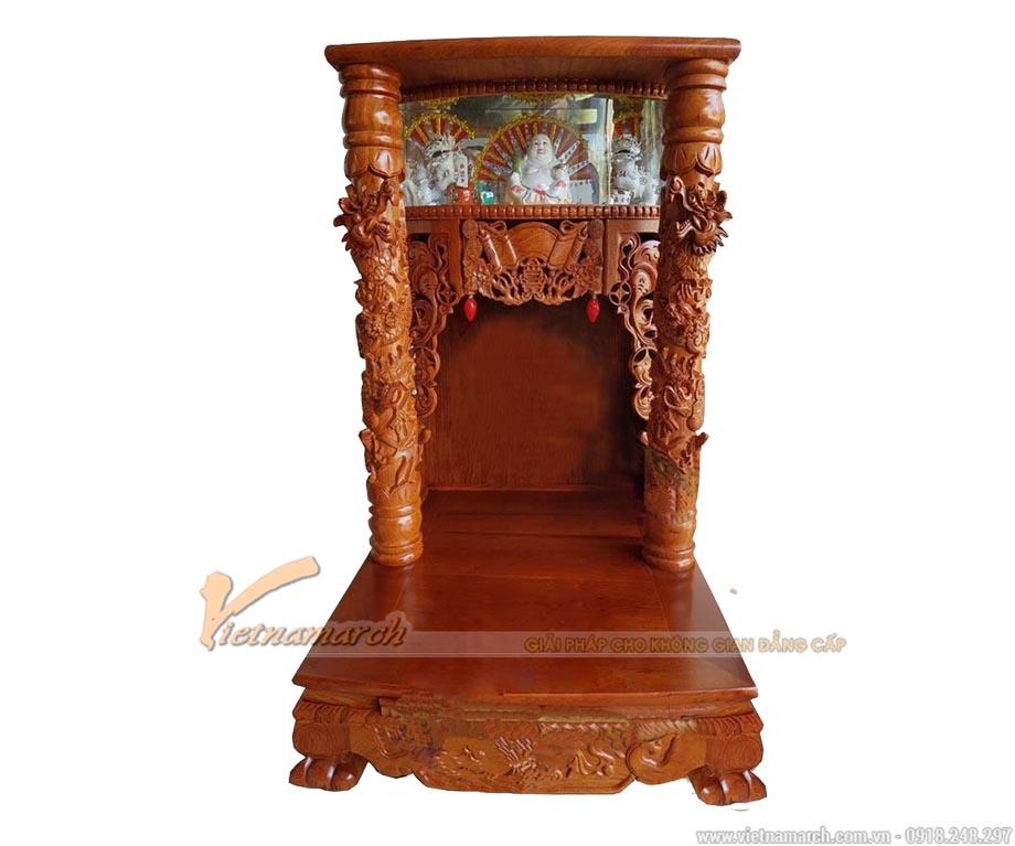 Bàn thờ thần tài gỗ hương cột tứ linh