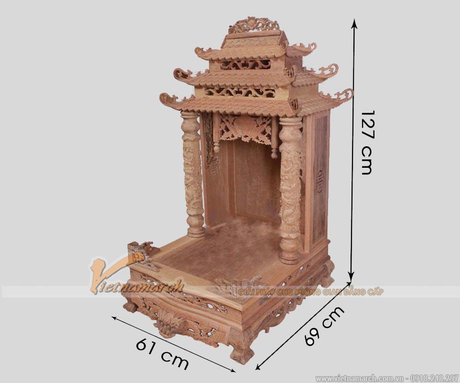 Bàn thờ thần tài mái chùa gỗ gụ