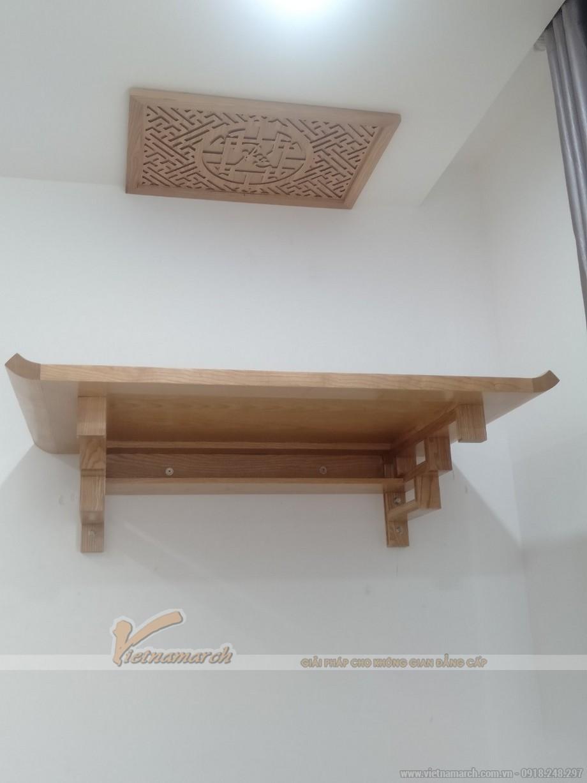 bàn thờ treo BTT02 gỗ sồi 48x81 tại chung cư đường Trịnh Văn Bô Từ Liêm