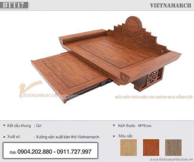 Bàn thờ treo gỗ gõ màu cánh gián 48x81 cho chung cư hiện đại - BTT17