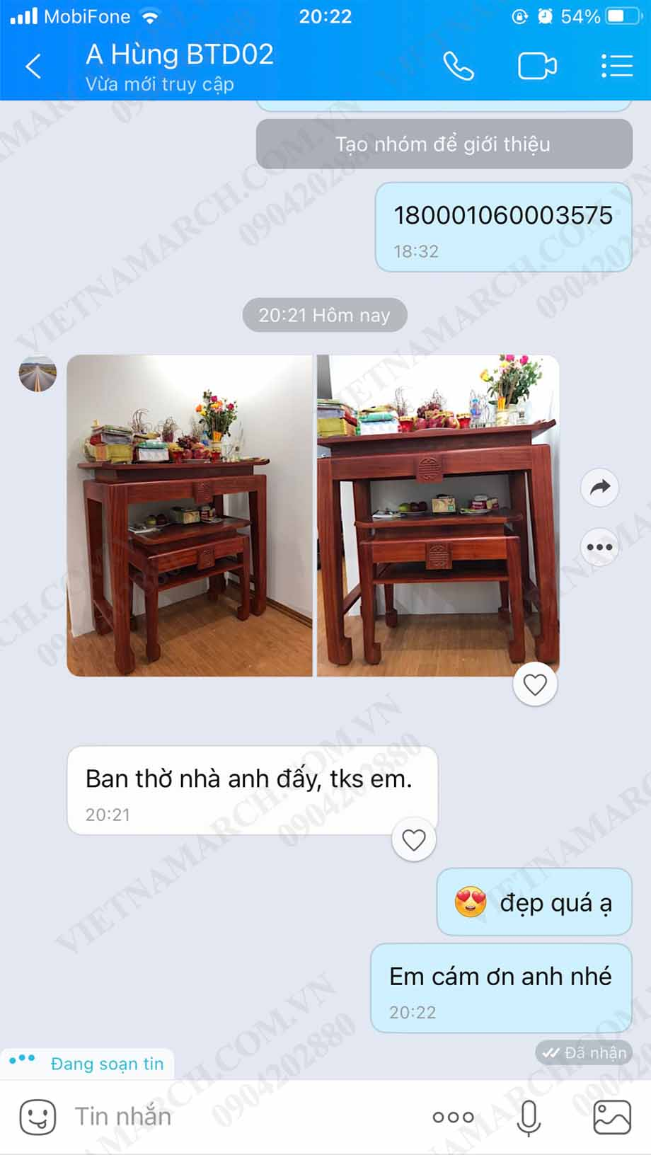 Ghi nhận của anh Hùng tại chung cư Đại Kim Building 163 Trần Hòa đối với mẫu bàn thờ đứng BTD02