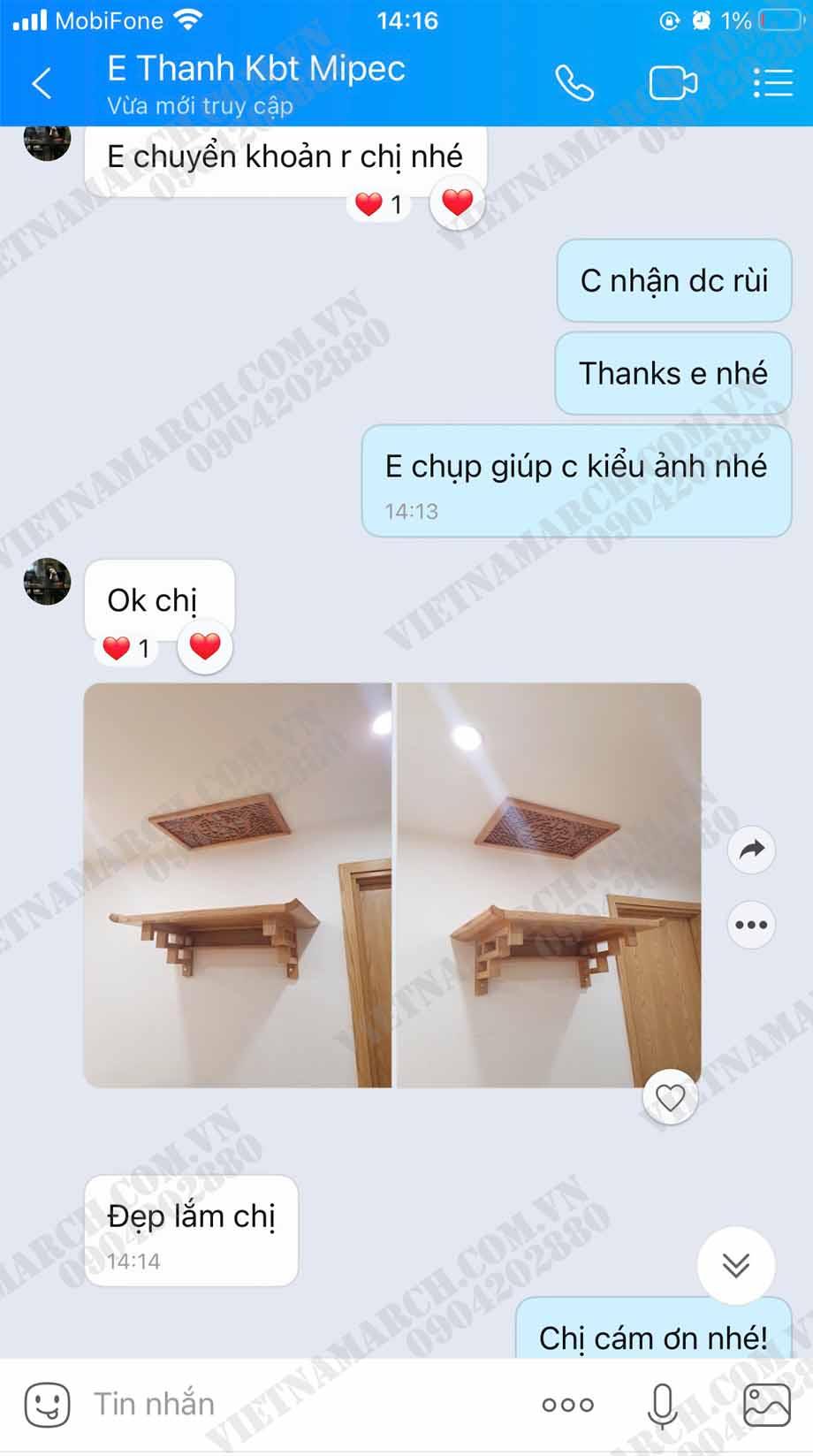 Feedback của chị Thanh tại căn chung cư M4 Mipec Kiến Hưng khi sử dụng bàn thờ treo BTT02