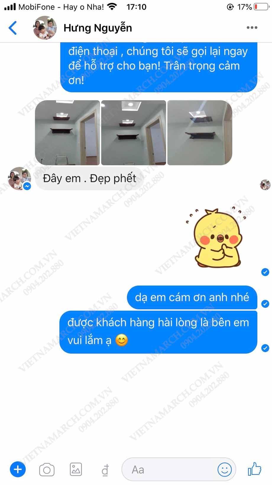 Feedback của anh Hưng về sản phẩm bàn thờ treo BTT10