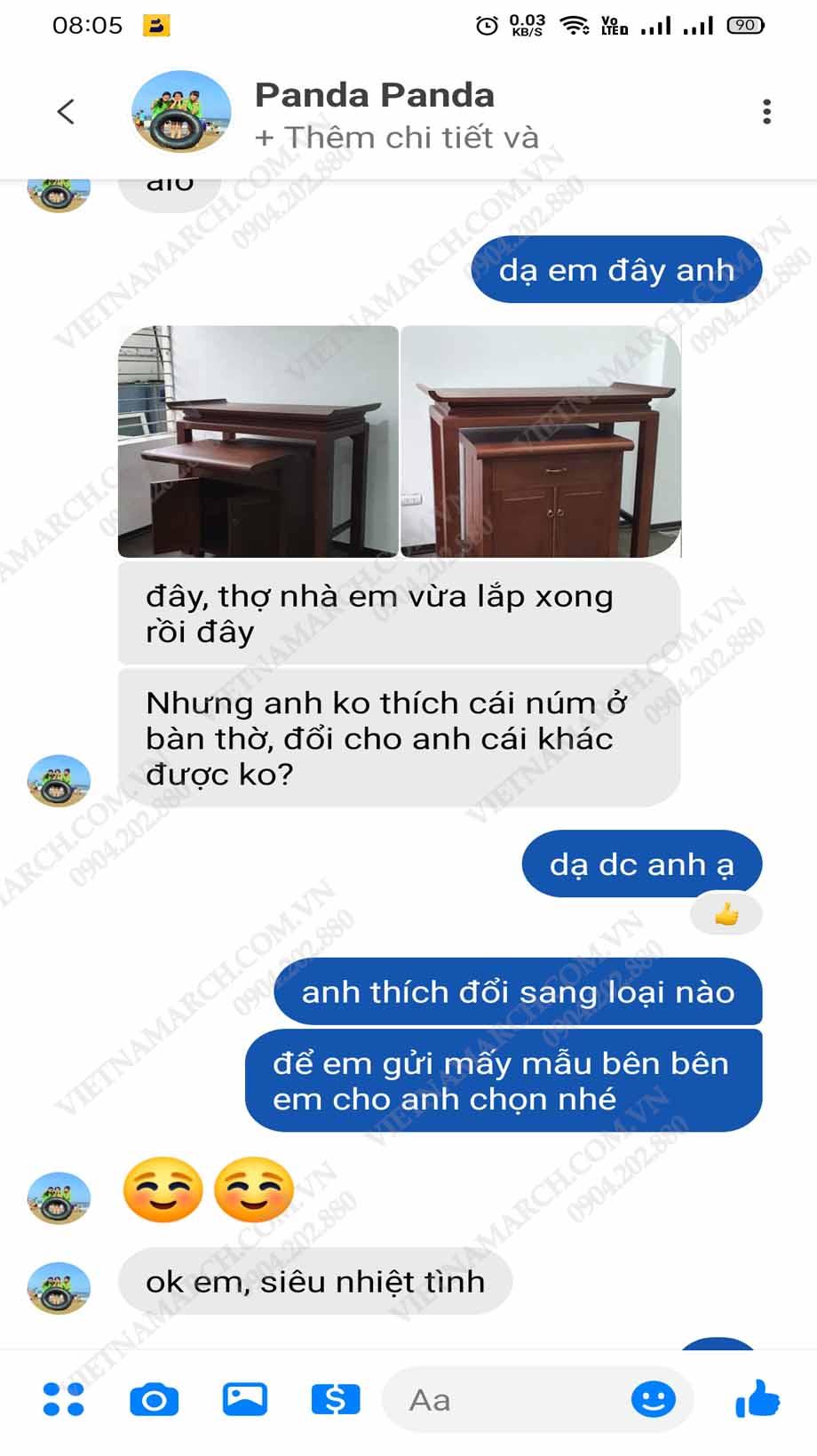 Feedback của Chị Hoài tại khu biệt thự liền kề Vĩnh Tuy về sản phẩm bàn thờ vietnamarch