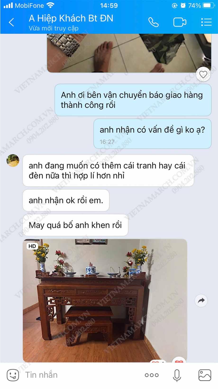Đánh giá của khách hàng đã mua sản phẩm bàn thờ Vietnamarch 61 Nguyễn Xiển