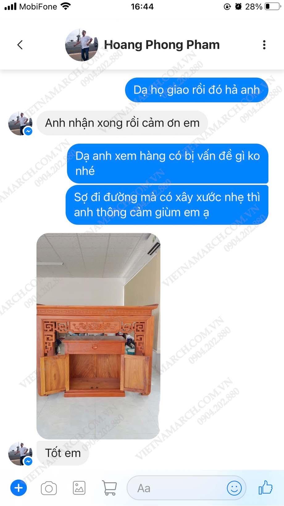 Feedback anh Phong tại Châu Thành - Bến Tre khi mua bàn thờ tại 61 Nguyễn Xiển