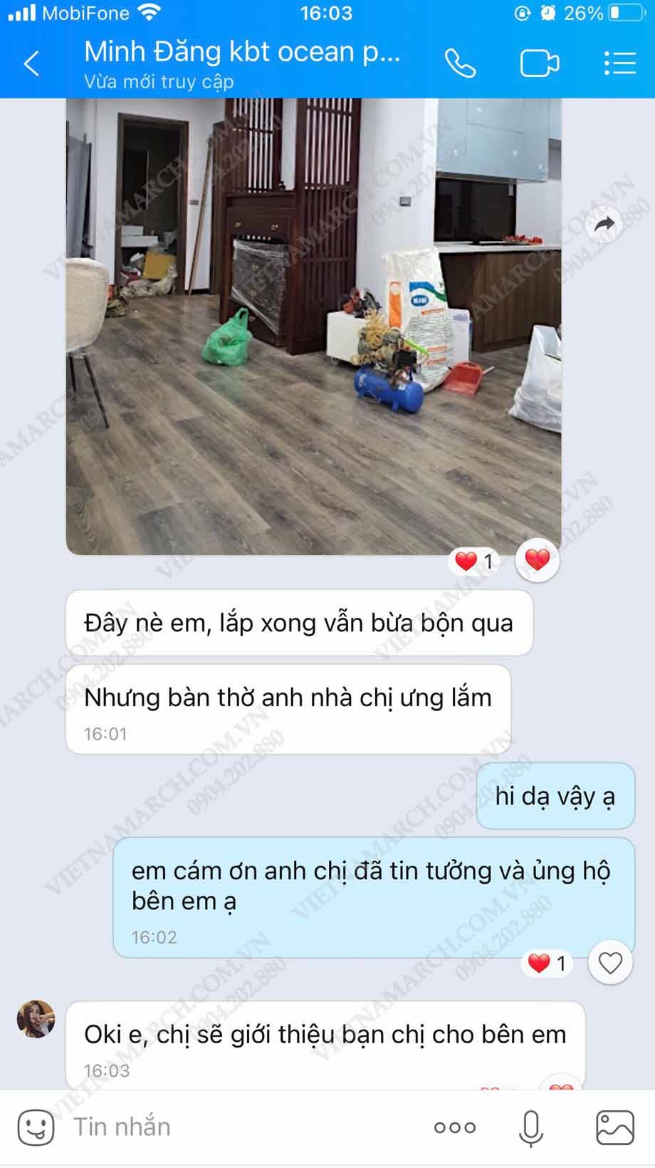 Feedback chị Minh tại Vinhomes Ocean Park khi mua bàn thờ tại 61 Nguyễn Xiển