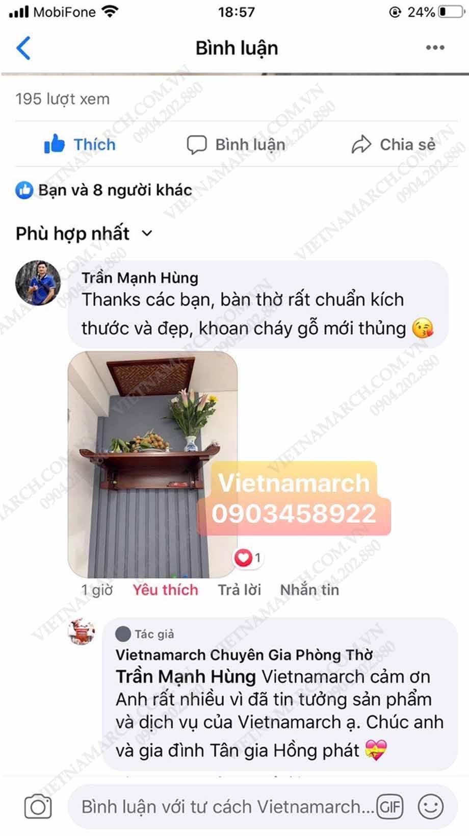 Feedback của anh Hùng tại Hoàng Mai - Hà Nội phản hồi lại khi mua bàn thờ Vietnamarch