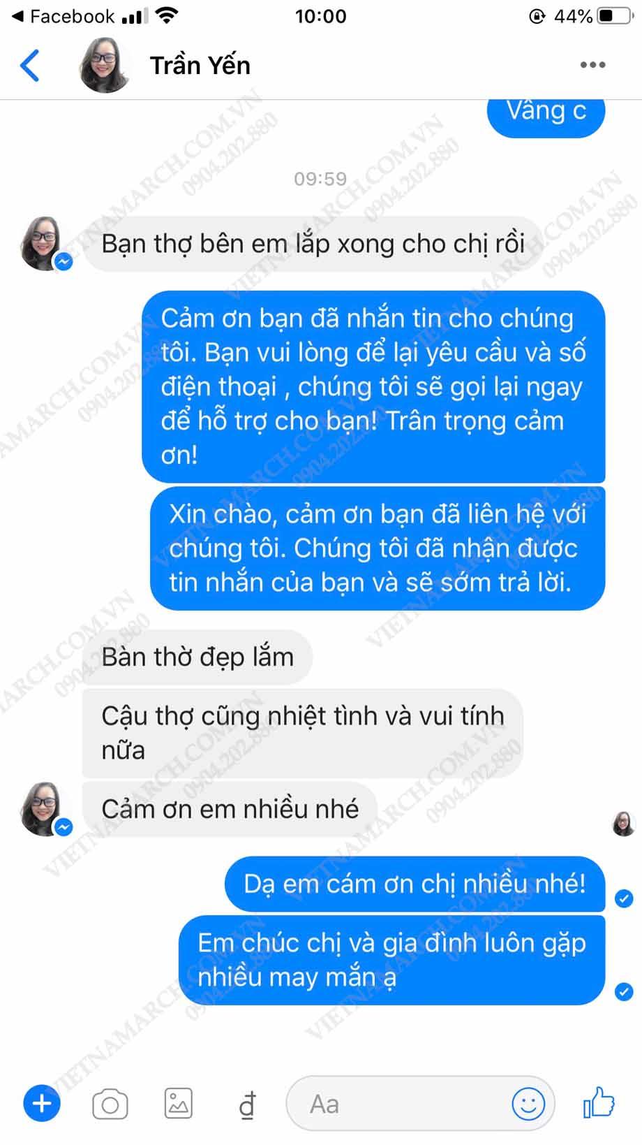 Feedback của chị Yến tại chung cư ECO Green khi mua bàn thờ Vietnamarch