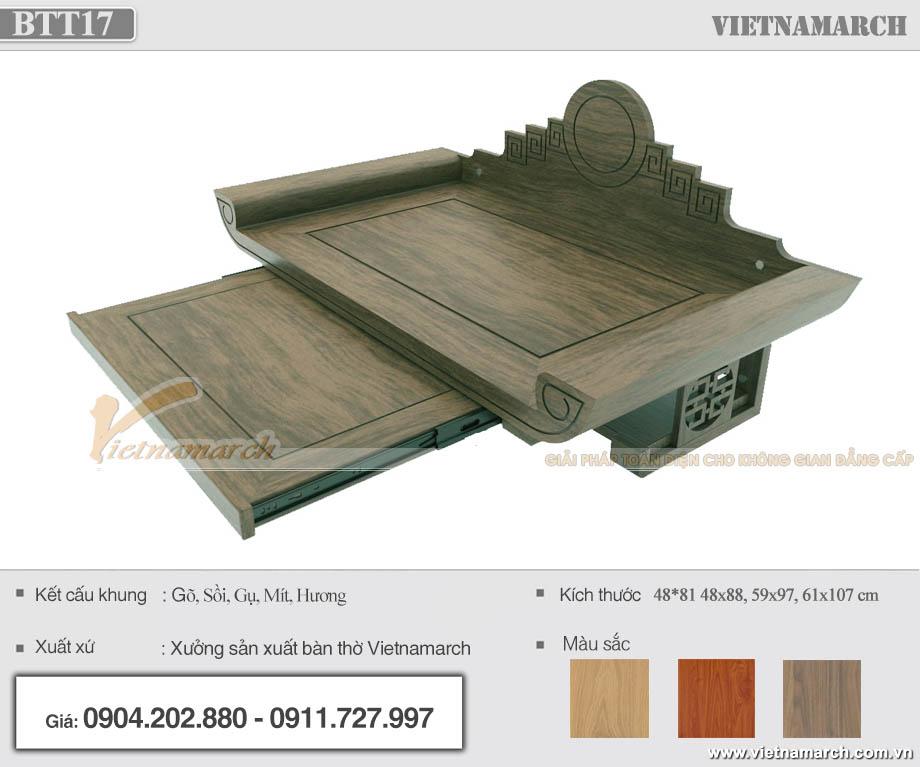 Bàn thờ treo gỗ mít có ngăn kéo 59x97 cm cho chung cư, nhà phố